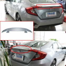 For Honda Civic 2016 17-2020 Abs Silver Rear Trunk Spoiler Gt Airplane Wing Flap