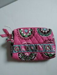Vera Bradley Pink Swirls Small Cosmetic Lined Bag Purse Make Up Catch All Pouch $11.49