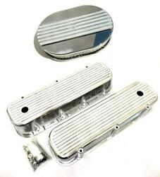 Big Block Chevy Polished Aluminum Tall Finned Valve Covers + 12 Air Cleaner Kit