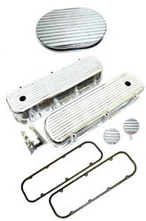 Chevy Aluminum Finned Valve Covers + Gaskets Breather Pcv And 12 Air Cleaner Bbc