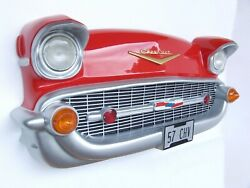 Red 57 Chevy Front Car Wall Decor Full Size - 57 Chevrolet Front Wall Decor