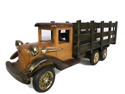 Vintage Late Model Wooden Delivery Truck Hand Crafted Toy Display Collection