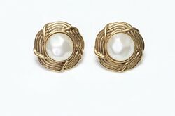Paris 1980's Gold Plated Woven Pearl Earrings