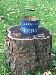 Antique Lazenbys Seeds Stenciled Blue Tin Bucket Agriculture Lovely Special Seed