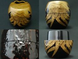 Rare Japan Lacquer Wooden Tea Caddy Robe Of Feathers Style Image Natsume 925