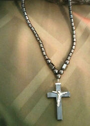 Necklace Natural Hematite Crucifix Cross Women Men Natural Stone Gift Ideal $16.99