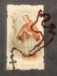 Vintage Catholic Rosary With Red Beads Italy With St Charles Card