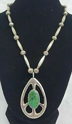 Peace Sign Vintage Native American Indian Sterling Silver Chrysocolla Necklace
