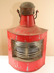 Vintage Antique Red Ship Lantern, Made In Norway By H. Henriksen As.