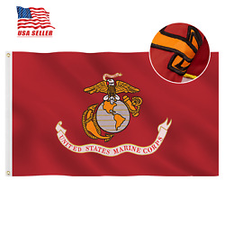 Embroidered Double Sided 3x5 Usmc United State Marine Corps Flags 2 Sturdy Brass