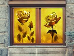 3d Golden Rose 1704nao Window Film Print Sticker Cling Stained Glass Uv Block Fa