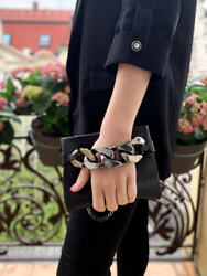 GIVENCHY Infinity Chain Detail Black Metallic Clutch Bag Small $450.00