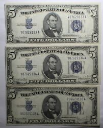 Set Of 3 Consecutive 1934 D 5 Silver Certificates Wide Ii Back 2086 Rare V-a