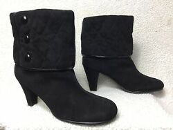 AEROSOLES Alpha Ray Women#x27;s Sz 6.5 Black Leather Suede Ankle Boots Heel Booties $19.99