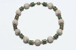 Vintage 1930's French Carved Flower Beads Green Glass Barrels Collar Necklace