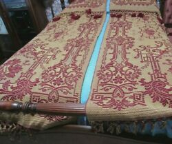 Antique Pr. Woven Jacquard Bed Coverlets,throws,drapes W/self Tassels Beautiful