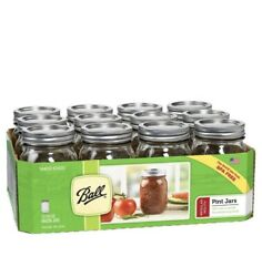 Ball 12 Pk 16 Oz Glass Mason Pint Jars With Lids And Bands Regular Mouth Canning