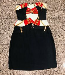 """Moschino Couture '89 """"cruise Me Baby"""" Life Preserver Blue Red Fish Charm Dress"""