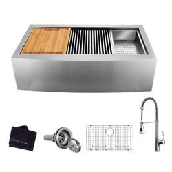 All-in-one Apron-front Farmhouse Stainless Steel 33 In. 50/50 Double Bowl Sink