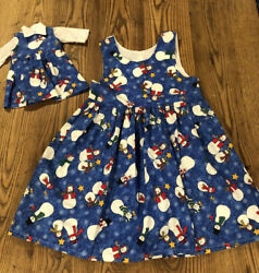 Size 5 Matching Girl And Doll Snowman Dresses. Fits American Girl One Of A Kind