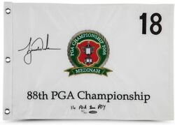 Tiger Woods Autographed And Embroidered 2006 Pga Championship Pin Flag Uda Le 500