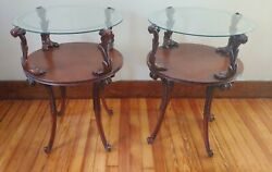 Antique Mahogany Two Tier Hand Carved Glass Top Round Side End Center Tables
