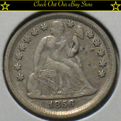 1856 U.s.silver Seated Liberty Dime 10c Vf Details Full Liberty