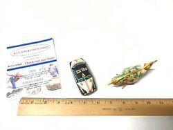 Vintage Made In Japan Wind Up Rooster And Friction Police Car Tin Litho Toy Works