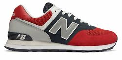 New Balance Men#x27;s 574 Pebbled Sport Shoes Red with Navy