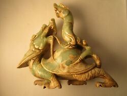 Vintage Xuanwu Black Tortoise And Serpent Green Jade Statue Turtle And Serpent 11
