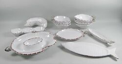 13pc Lot Of Mud Pie Pottery Sanibel Serving Dishes,bowls,platters Metal Accents