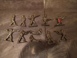 Vintage Flat Military Army Men Toy Soldier Figurines - Marx Timmee Toys Mpc