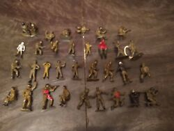 Vintage Mini Military Army Men Toy Soldier Figurines - Marx Timmee Toys Mpc