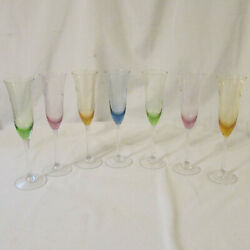 Set Of 7 Vintage Multi-colored Pastel Etched Glass Delicate Champagne Flutes