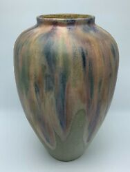 French Potter Charles Greber Handthrown Pottery Vase Multi-colored Drip Glaze