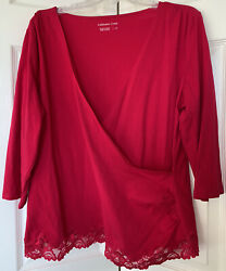 Coldwater Creek 1x Red Long Sleeve Lace Botton Top