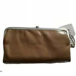 HOBO WALLET women mink taupe clutch Lauren leather double frame new $86.00