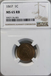 1867 Ngc Ms65 Rb 1c Indian Head One Cent