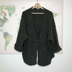 Sejour Nordstrom Cardigan Sweater Size 3X Gray One Button Wool Mohair Blend READ $29.99