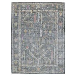 9and0391x11and0399 Hand Knotted Gray With Tree Design Angora Oushak Pure Wool Rug G55693