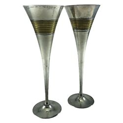 One Pair Vintage French Champagne Wine Flutes-silver/brass Natural Patina