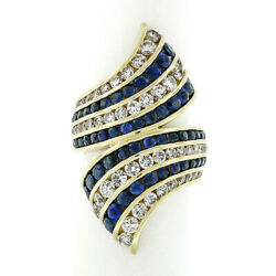 18k Yellow Gold 4.70ctw Round Royal Blue Sapphire And Diamond Channel Bypass Ring