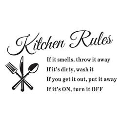 Kitchen RULES Quote Room Wall Stickers Vinyl Art Decal Home Decor Removable DIY