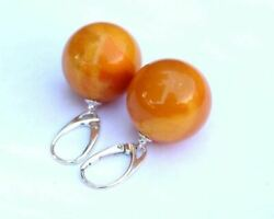 Antique Color Baltic Amber Round 15mm Earrings