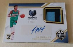2019-20 Panini Chronicles Limited Ja Morant Rc Auto /25 2 Color Patch Grizzlies