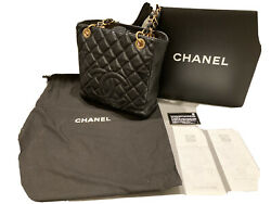 CHANEL Quilted Caviar Leather Petite Shopping Tote Bag $1350.00