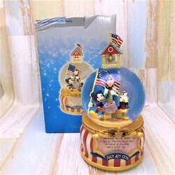 American Independence Limited Rare Mickey Mouse Donald Goofy Snow Globe Figure