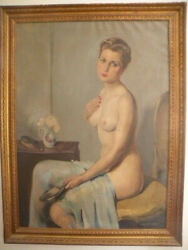 Original Oil Painting Nude Woman Posing By Guido Caprotti Listed Italian Artist