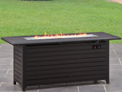 Large Outdoor Fire Pit Table Patio Backyard Long Heater Deck Gas Glass Bronze