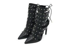 Versace Studded Pointed Boots Gladiator Black Lace Up Heels Gold Metal Sz 36 1/2